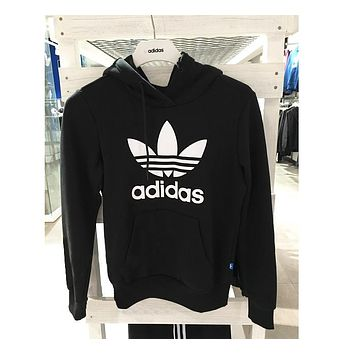 ADIDAS BLACK HOODIE FASHION WOMEN MEN LONG SLEEVE SWEATER TOP