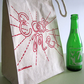 Screen Printed Recycled Cotton Lunch Bag - Reusable and Washable - Eco Friendly - Eat Me - Alice in Wonderland