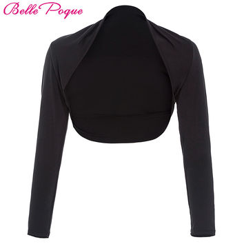 Belle Poque Long Sleeve Women Jacket 2017 Fashion Shrug Black Bolero Casaco Slim Cropped Tops Open Stitch Ladies Coats Outerwear