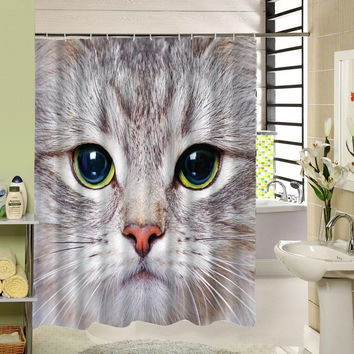 Cool Cat Dog Animal Design Polyester Shower Curtain 3D Fabric Print