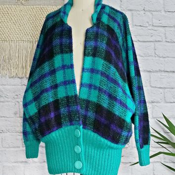 Vintage 1980s Mohair + Slouchy Plaid Cardigan