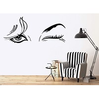 Vinyl Decal Beautiful Woman Beauty Salon Female Eye Makeup Sexy Girl Wall Stickers Unique Gift (ig1416)