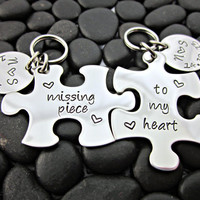 Missing Piece To My Heart  with Initials and Date - Couple's Keychains - Interlocking Puzzle Pieces