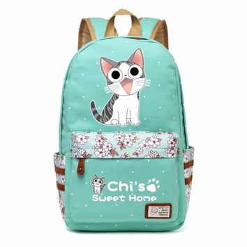 chi's sweet home cheese cute lovely cat Canvas bag Flowers wave point Rucksacks backpack Girls School Bag travel Shoulder Bag