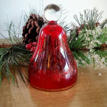 Ruby Red Glass Bell Etched Floral, Vintage Fenton Red Glass Bell
