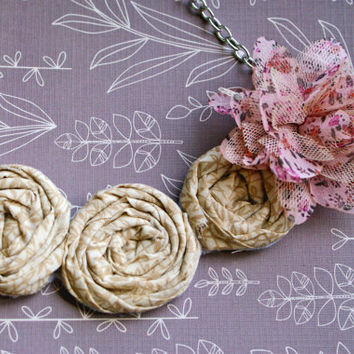 Cream and Pink Rosette Bib Necklace with flower
