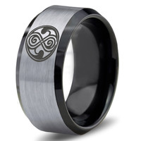Dr Who Ring Doctor Time Lord Design Gallifrey Symbol Ring Mens Fanatic Geek Sci Fi Jewelry Boys Girl Womens Ring Fathers Day Gift Holiday Tungsten Carbide 164