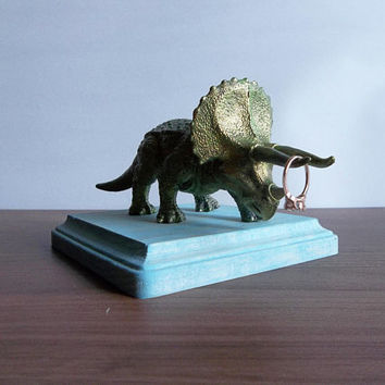 Triceratops, Kids Room Decor, Boys Nursery Decor, Entryway Decor, Ring Holder, Rustic Key Holder, Boho, Dinosaur Decor, Entryway Organizer