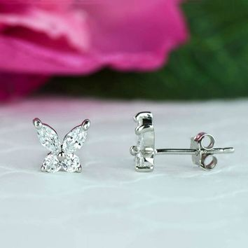 3/4 ctw Small Butterfly Stud Earrings, Dainty Earrings, Man Made Diamond Simulants, Sterling Silver, Bridal Earrings, Bridesmaid Gift