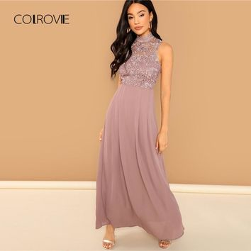 COLROVIE Pink Solid Guipure Overlay Bodice Sheer Sweet Party Lace Dress Women Sleeveless Vintage Elegant Maxi Dress