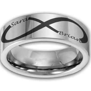 8MM Wide Custom Infinity Symbol Tungsten Ring w/ Two Name Couples Band Mens or Womens Promise Ring
