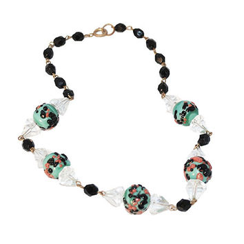 1930s Czech Glass Necklace with Lampwork Beads