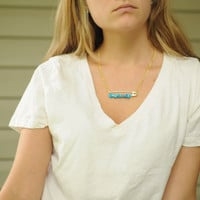 Gold Safety Pin with Turquoise Beads Necklace
