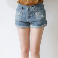 Denim Cuffed Frayed Button Zippered Shorts