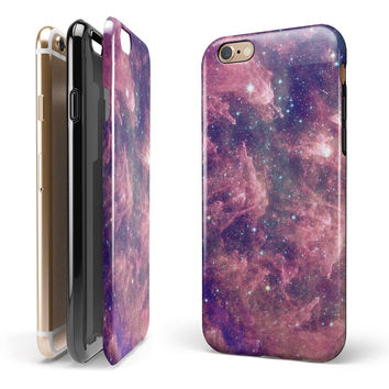 Vibrant Sparkly Pink Nebula iPhone 6/6s or 6/6s Plus 2-Piece Hybrid INK-Fuzed Case