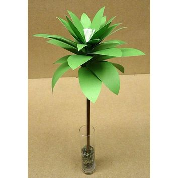 Handmade Paper Palm with Glass Vase