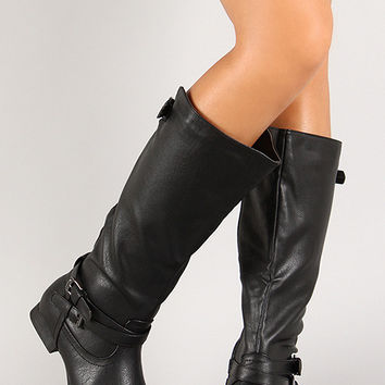 Thin Straps Almond Toe Mid Calf Boot