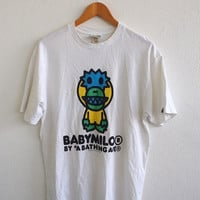 BIG SALE 25% Baby MILO By Bathing Ape Bape Couture Streetwear New York Streetwear White Tee T shirt Size L