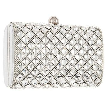 Diamond Pattern Crystal and Rhinestone Evening Clutch Bag