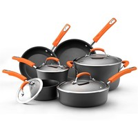 Rachael Ray Hard-anodized Nonstick 10-piece Grey with Orange Handles Cookware Set | Overstock.com Shopping - The Best Deals on Cookware Sets