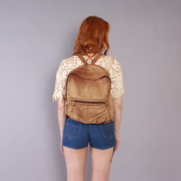 80s Brown LEATHER BACKPACK / 1980s Oversized Overnight Daypack School Bag