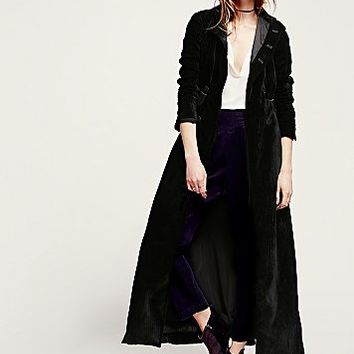 Free People Womens Victory Velvet Maxi Duster - Black