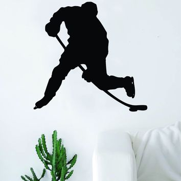 Hockey Player Silhouette Quote Wall Decal Sticker Bedroom Living Room Art Vinyl Sports Ball Nursery Son Daughter Teen Kids Ice