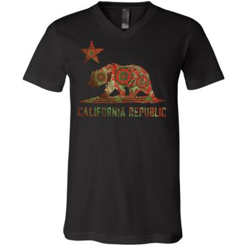 California Chumash Mandala Bear Asst Colors V-Neck