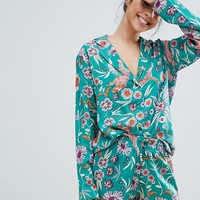 ASOS DESIGN Graphic Floral 100% Modal Traditional Shirt & Short Pajama Set at asos.com