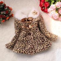 New Baby Children Girls Leopard Faux Fox Fur Collar Coat Clothing Winter Wear Clothes Outerwear Jacket