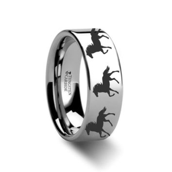 Running Horse Engraving Flat Tungsten Ring