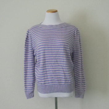 FREE usa SHIPPING Vintage women's knit striped sweater hipster pullover acrylic preppy puffy sleeves purple pink blue size S