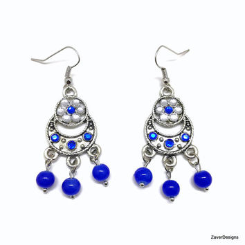 Blue Chandelier Earrings, Royal Blue Earrings, Blue Earrings, Chandelier Earrings, Glass Bead Earrings, Blue Dangle Earrings, Long Earrings,