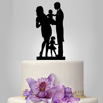 Funny wedding cake topper, family wedding cake topper, little kid cake topper, groom and bride with baby cake topper,SELECT KIDS