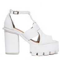 White Ankle Strap Platform Shoes