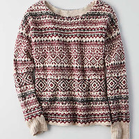 AEO Patterned Crew Sweater, Burgundy