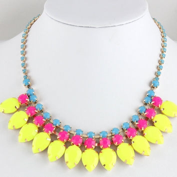 Neon Necklace, Neon Statement Necklace, Yellow TearDrop Gold Chain Necklace for Women/Girls