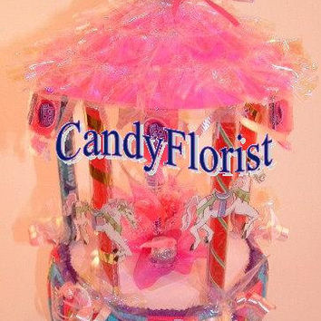 CANDY CAROUSEL Cake Topper or Centerpiece! A Candy Bouquet Piece Great for Candy Buffet Table * Baby / Bridal Showers * 1st Carnival, Circus