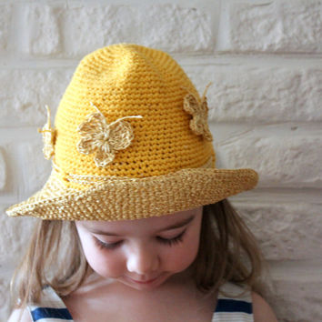 Sun hat for girls / Toddlers crochet raffia hat / Butterfly hat / Packable straw hat / Bucket hat / Cotton payette hat