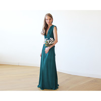 Emerald green sleeveless maxi dress 1003
