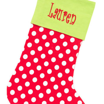 Christmas Stocking Red Dot and Lime Green - Monogrammed Personalized