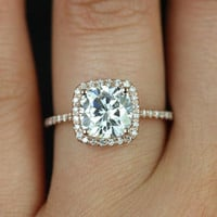 Catalina 14kt Rose Gold Cushion FB Moissanite and Diamond Halo Engagement Ring (Other metals and stone options available)