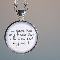Bob Dylan Lyric Pendant Necklace. Round art pendant jewel.