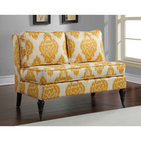 Cassidy French Yellow/ Cream Ikat Loveseat