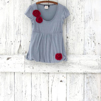 Silver Bubble hem shirt- upcycled babydoll top- Indie Fashion Gray- ecofashion top- shimmer party top