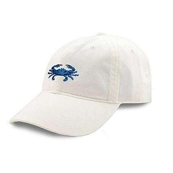 Blue Crab Needlepoint Hat in White by Smathers & Branson