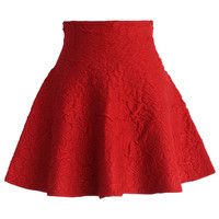 Daisy Embossed Skater Mini Skirt in Red Red S/M