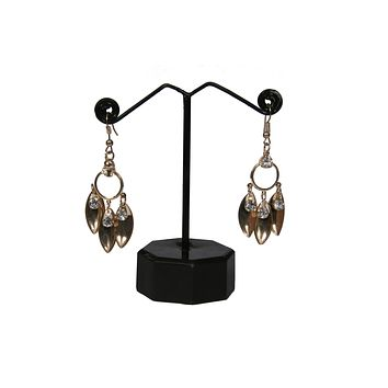 Slim White Crystal Bullets Post Backings Dangle Drop Earrings (Antique Gold tone)