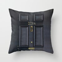 Classic Old sherlock holmes 221b door iPhone 4 4s 5 5c, ipod, ipad, tshirt, mugs and pillow case Throw Pillow by Three Second