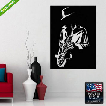 rvz157 Wall Decal Sticker Sax Saxophone Men with Sax Grunge Flowers Audio